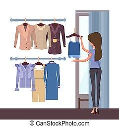 店, そして, 女, ∥で∥, 衣服, ベクトル, イラスト