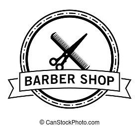店, そりあと, &, ヘアカット, 理髪師, バッジ