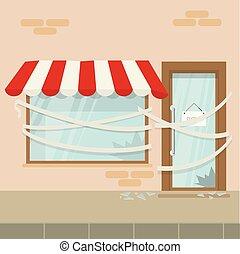 店, なくなっている, カフェ, ドア, 破産者, ビジネス, closed., ロックされた, 持つ, ∥あるいは∥, 店