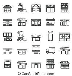 店, アイコン, 建物, セット