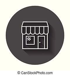 店, イラスト, ラウンド, ベクトル, 黒, 長い間, 背景, icon., shadow., 店, 建造しなさい
