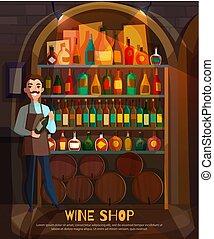 店, イラスト, ワイン