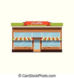 店, イラスト, 小さい, ベクトル, カフェ, ファサド, pizzeria, 店