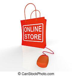 店, インターネット, 袋, 店, オンライン ショッピング, 購入, ショー