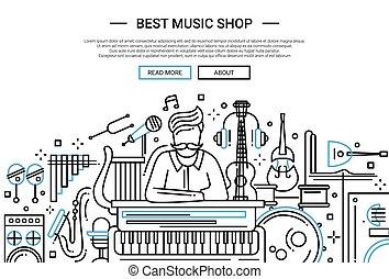 店, ウェブサイト, -, ヘッダー, 音楽, テンプレート, 旗, 最も良く