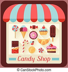 店, キャンデー, キャンデー, 甘いもの, 背景, cakes.