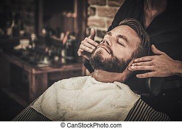 店, クライアント, 理髪師, の間, 手入れをすること, 髭, ひげ