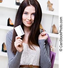 店, クレジット, はき物, 女性, もつ, カード
