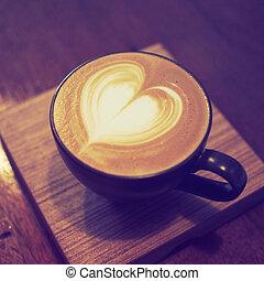 店, コーヒーカップ色, 型, latte