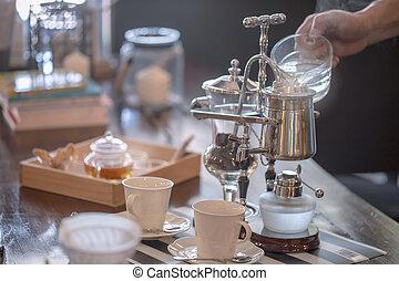 店, コーヒーカップ, の上, サイフォン, 真空, 真空, 終わり, メーカー