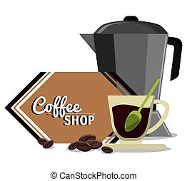 店, コーヒーカップ, ガラス, スプーン, メーカー