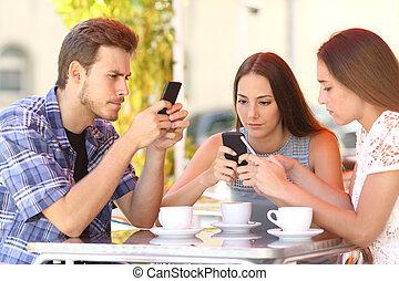 店, コーヒー, グループ, 電話, 常習している, 友人