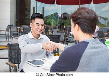 店, コーヒー, ビジネス 人々, 2, アジア人, 肖像画, ミーティング