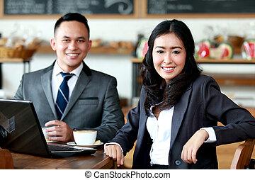 店, コーヒー, ミーティング, ビジネス 人々