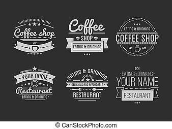 店, コーヒー, レストラン, 型, label., logo., template.