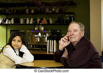 店, コーヒー, レストラン, 孫娘, 年配, 一緒に, 人