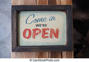 店, コーヒー, 型, 印, 木, 来なさい, we're, 開いた