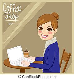 店, コーヒー, 女