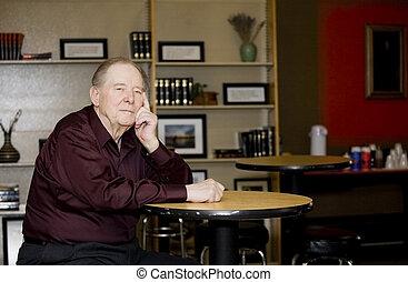 店, コーヒー, 年配の男