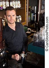 店, コーヒー, barista, 仕事, 若い