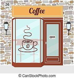 店, コーヒー, facade.