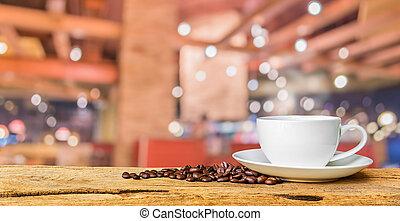 店, コーヒー, image., bokeh, 背景, ぼやけ