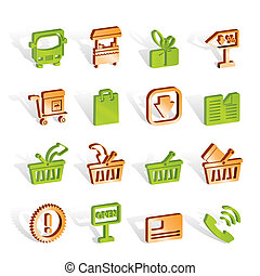 店, セット, アイコン, -, ベクトル, オンラインで, アイコン
