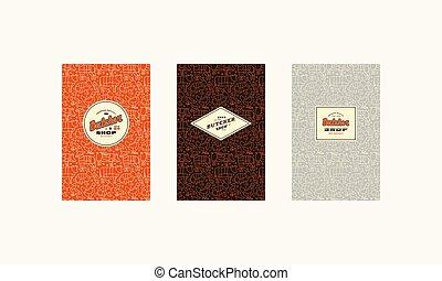 店, セット, パターン, seamless, 肉屋, カバー, ラベル, ロゴ