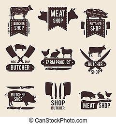 店, セット, 動物, ラベル, 国内, 肉屋, デザイン, イラスト, モノクローム, 道具, 台所