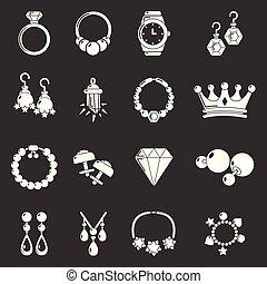 店, セット, 宝石類, アイコン, 灰色, ベクトル