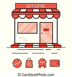 店, セール, illustration., ベクトル, アイコン, stickers., showcase., 赤
