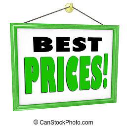 店, ビジネス 印, 窓, 店, 掛かること, 価格, 最も良く