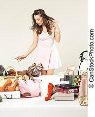 店, ブルネット, 朗らかである, 女, 靴