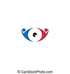 店, ベクトル, 目, 人々, 光学, デザイン, ロゴ, アイコン