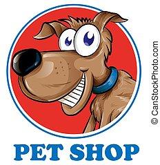 店, ペット, 犬, 隔離された, 背景, ロゴ, 白, マスコット