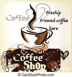 店, ポスター, コーヒー, グランジ, vintag