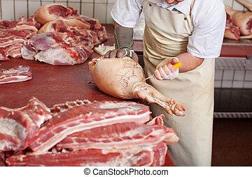 店, ポーク, 肉, 肉屋, 切断, ナイフ