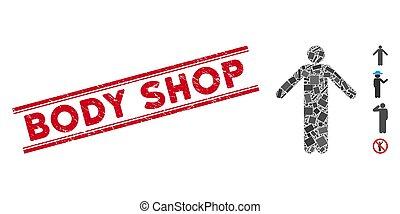 店, ポーズを取りなさい, モザイク, 切手, 無知, グランジ, 体, ライン