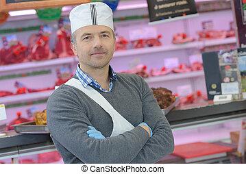 店, ポーズを取る, 肉屋