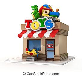店, ミニ, おもちゃ, レンダリング, 店, 3d