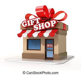 店, ミニ, 贈り物, レンダリング, 店, 3d