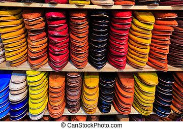 店, モロッコ, スリッパ, カラフルである, 記念品