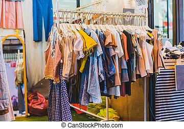 店, モール, 通り道, 買い物, 衣服