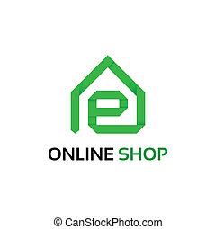 店, ロゴ, オンラインで