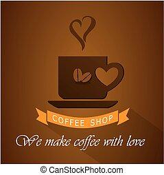 店, ロゴ, コーヒー