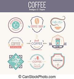 店, ロゴ, コーヒー, コレクション