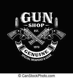 店, 交差させる, 銃, 黒, 銃, 紋章