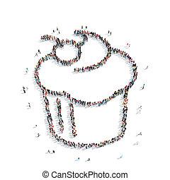 店, 人々, パイ, コーヒー, 形