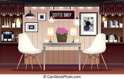 店, 内部, コーヒー, イラスト