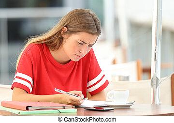 店, 勉強, コーヒー, 混乱させられた, 学生